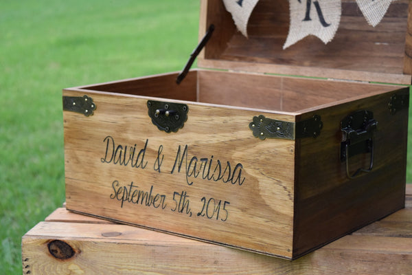 Laser Engraved Wooden Card Chest with Burlap Cards Banner