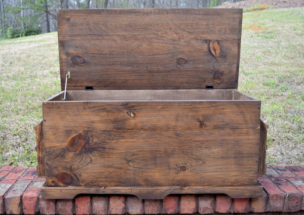 30x18x18 Wood Storage Box with Side Book Holders