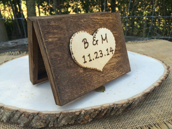 Ring Bearer Wedding Ring Box with Personalized Heart