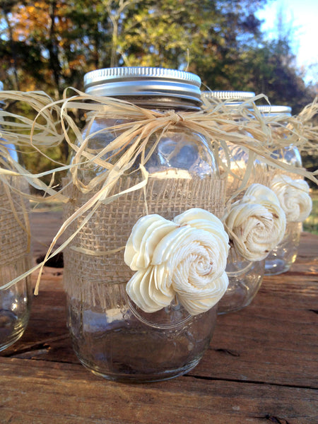Wrapped Quart Size Mason Jar with Sola Flower & Raffia