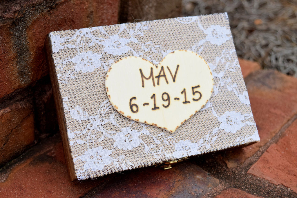 Burlap and lace wrapped ring bearer box rustic wedding country burlap and lace wrapped ring bearer box junglespirit Images