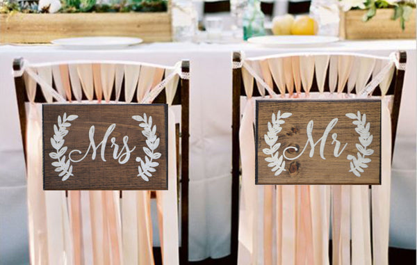 Wooden Mr and Mrs Hanging Chair Signs