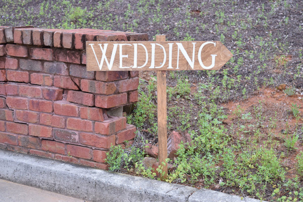 Hand Painted Wedding Sign on Stake