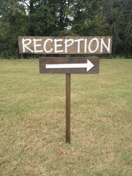 Wedding Reception Sign on Stake with Arrow