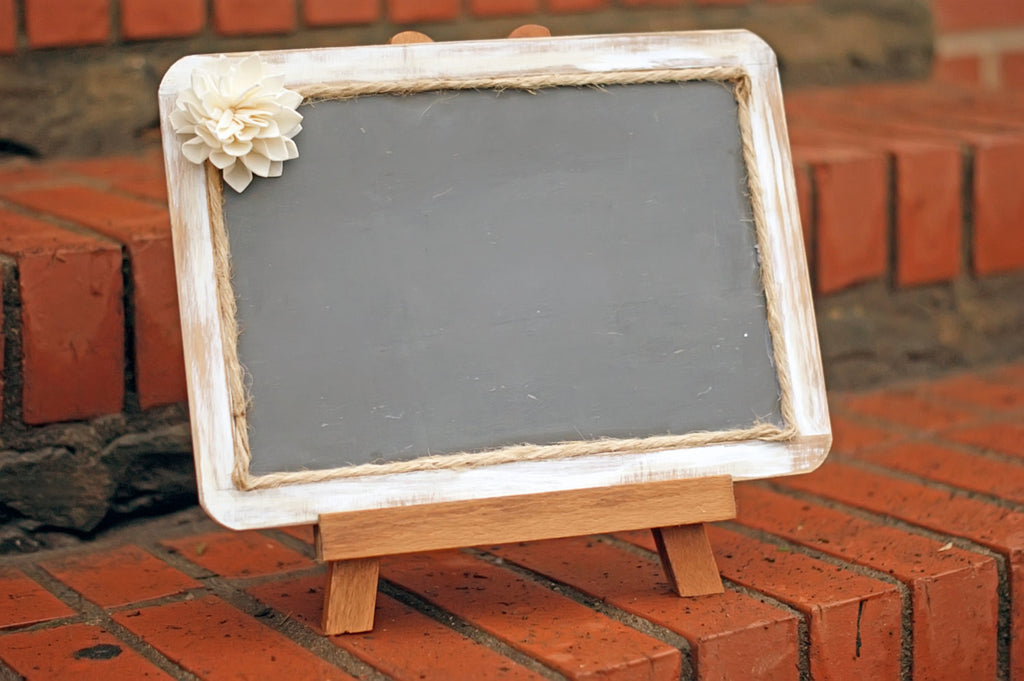 7x10 Distressed Framed Chalkboard with Sola Flower