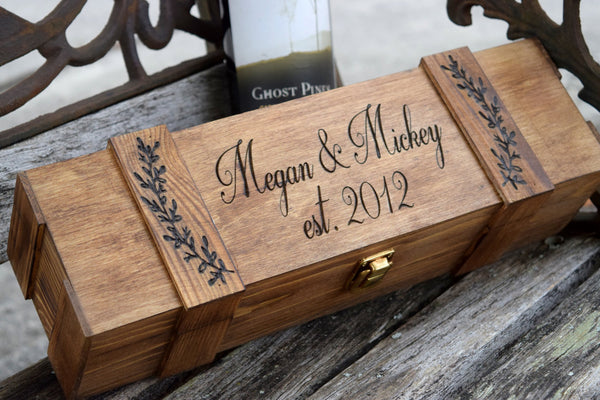 Personalized Leaf Wine Box