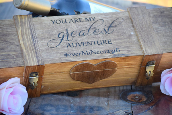 Double Lockable Wine Box with Personalized Top Engraving
