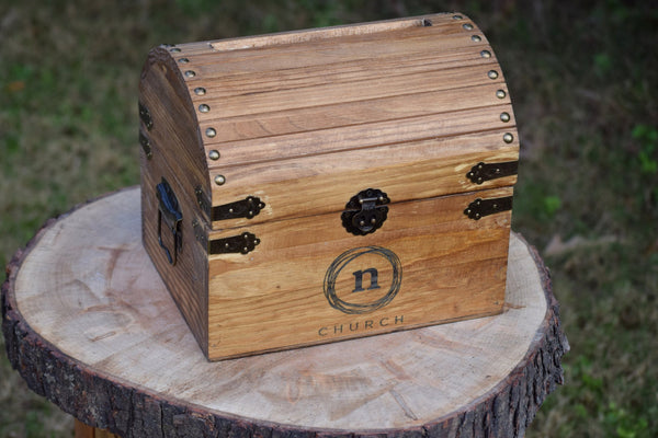 Church Offering Chest with Personalized Logo and Slot on Top