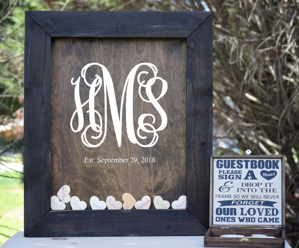 Wooden Heart Drop Wedding Guest Book Alternative