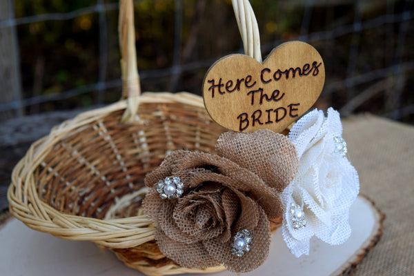 Burlap Flower Flower Girl Basket