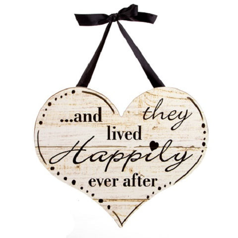 And They Lived Happily Ever After Wall Decor with Ribbon Hanger