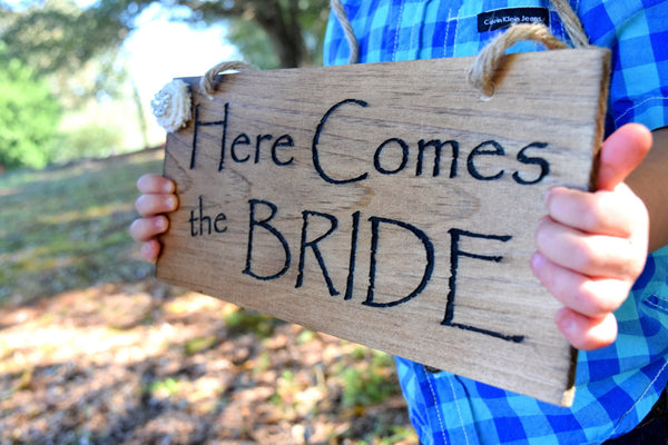 Here Comes The Bride Sign with Burlap Flower