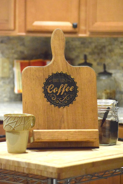 But First Coffee Personalized Tablet/Cookbook Holder