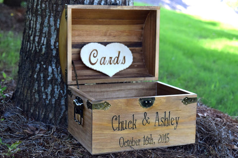 Wooden Chest with Engraved Front and Inside Lid Cards Heart