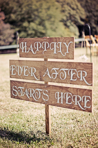 Happily Ever After Starts Here Wedding Sign