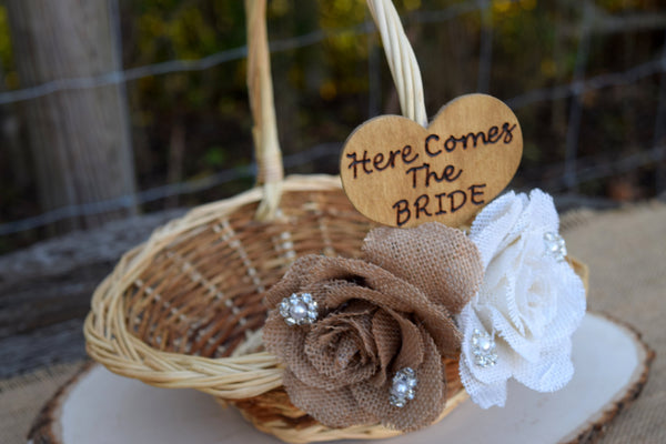 Burlap Rose Flower Girl Basket