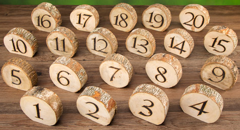 Rustic Wedding Wood Slice Table Numbers 1-20
