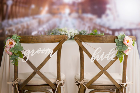 Script Bride & Groom Chair Signs