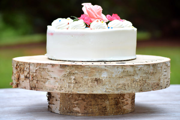 Raised Birch Tree Slice Cake Stand
