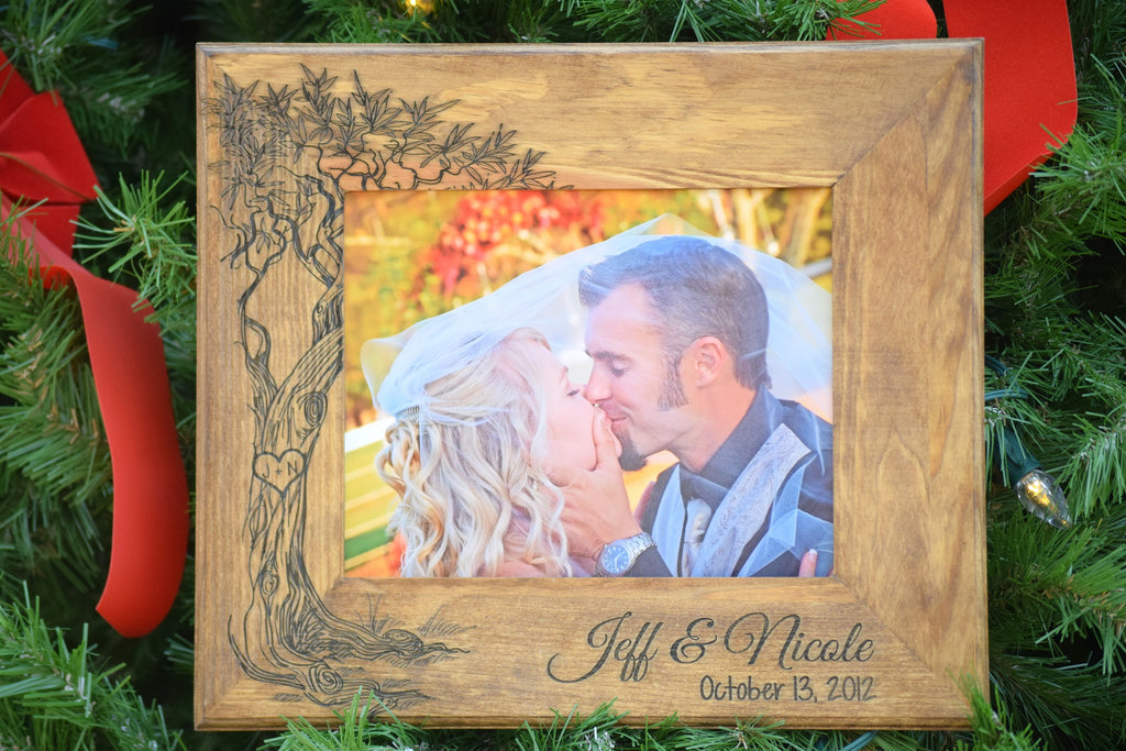 Tree Picture Frame - Personalized Rustic Wood Frame - Love Birds ...