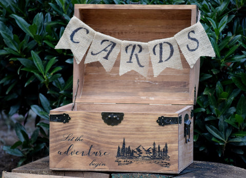 Let the Adventure Begin Engraved Wooden Card Chest with Burlap Cards Banner