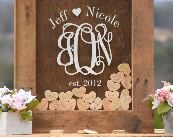 Barnyard Wooden Heart Drop Wedding Guest Book Alternative