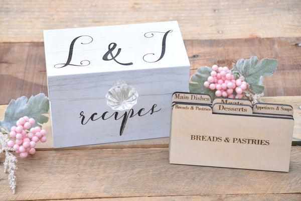 Personalized Recipe Card Box with Knob