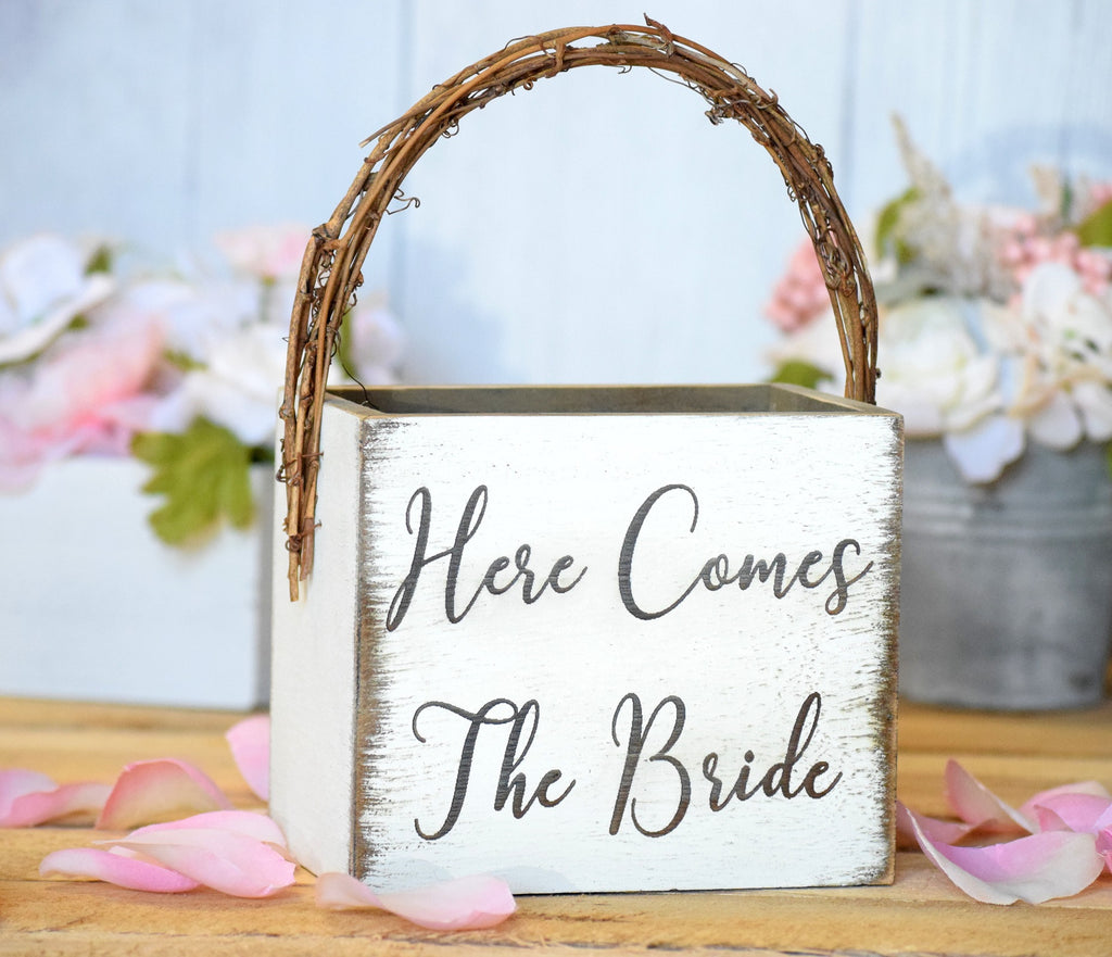 Flower Girl Basket with Twig Handle Here Comes The Bride - Weddings ...