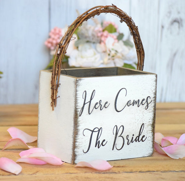 Flower Girl Basket with Twig Handle