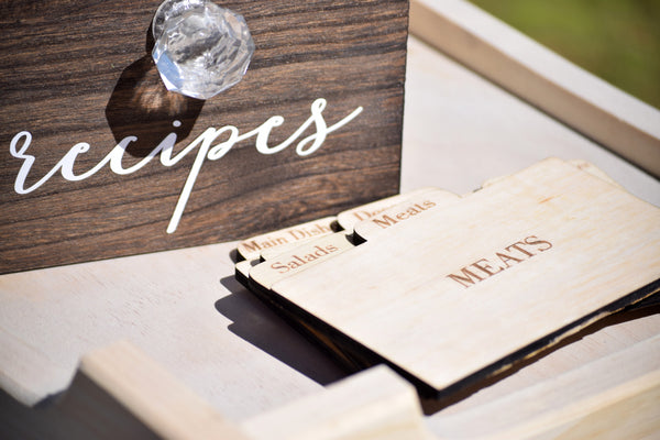Personalized Recipe Card Box with Wood Divider Option