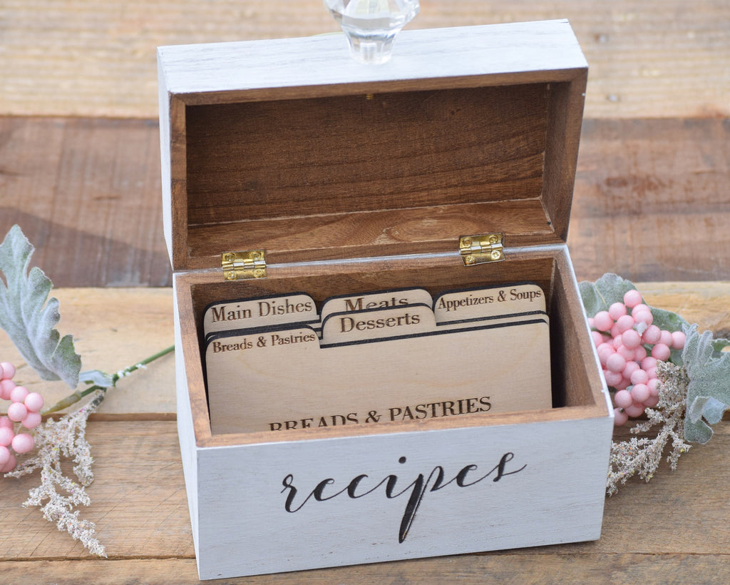 Recipe card box recipe card holder recipe box country barn babe personalized recipe card box with knob thecheapjerseys Image collections