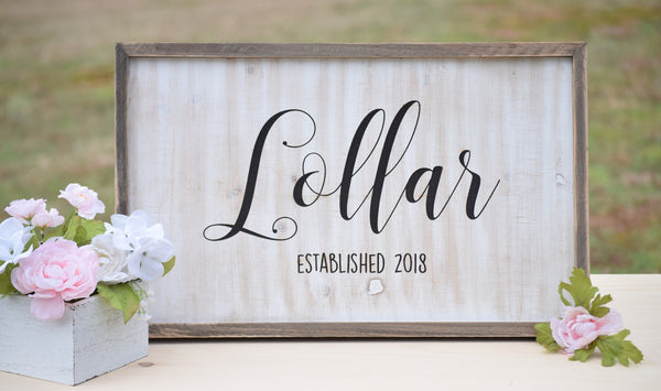 Last Name Family Established Farmhouse Sign