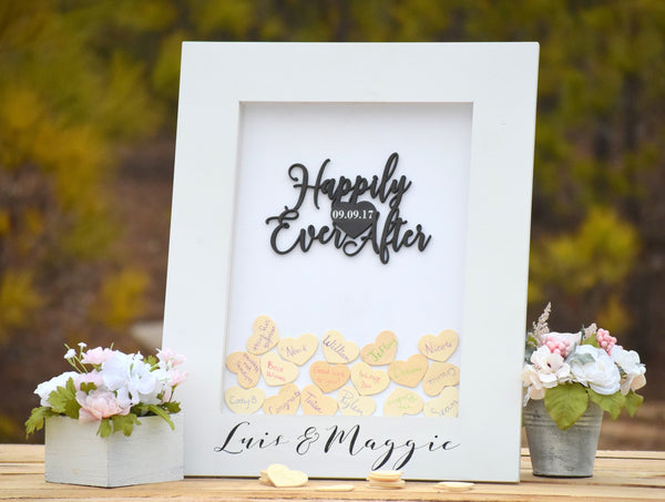 White Heart Drop Wedding Guest Book Alternative