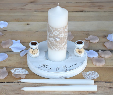 Wedding Unity Candle Set with Stand