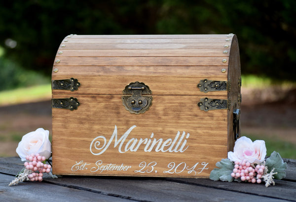 Laser Engraved Personalized Wooden Card Box