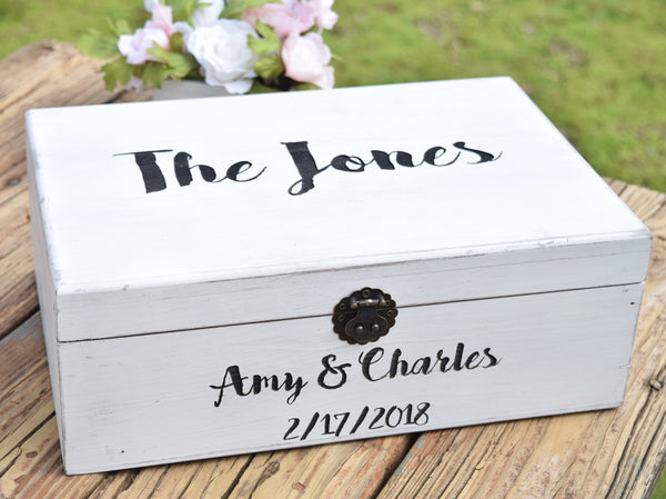 Distressed Wedding Card Box with Front and Top Lid Engraving