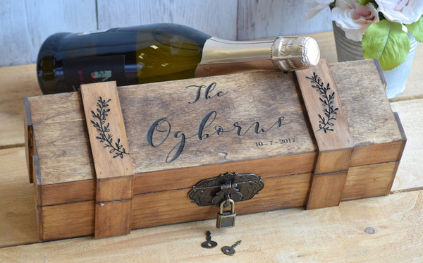 Lockable Personalized Leaf Wine Box