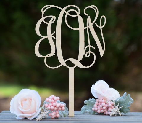 Wooden Monogram Cake Topper