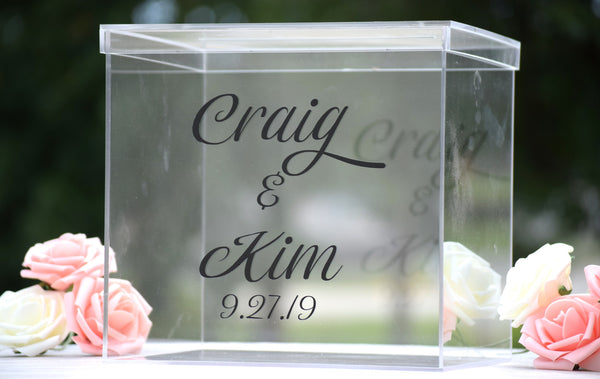 Personalized Acrylic Card Box with Card Slot