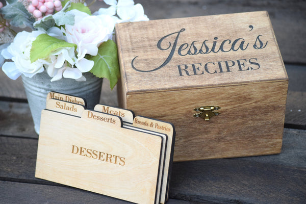 Personalized Recipe Card Box
