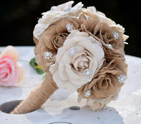 Burlap Bouquet with Gems