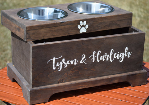 Elevated Dog Feeder and Storage Box
