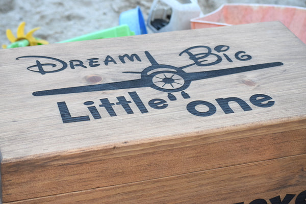 Personalized Toy Box With Front and Lid Engaving
