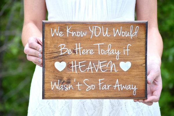 We Know You Would Be Here Today if Heaven Wasn't So Far Away Memory Sign