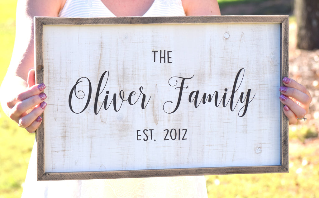 Family Name Established Farmhouse Sign