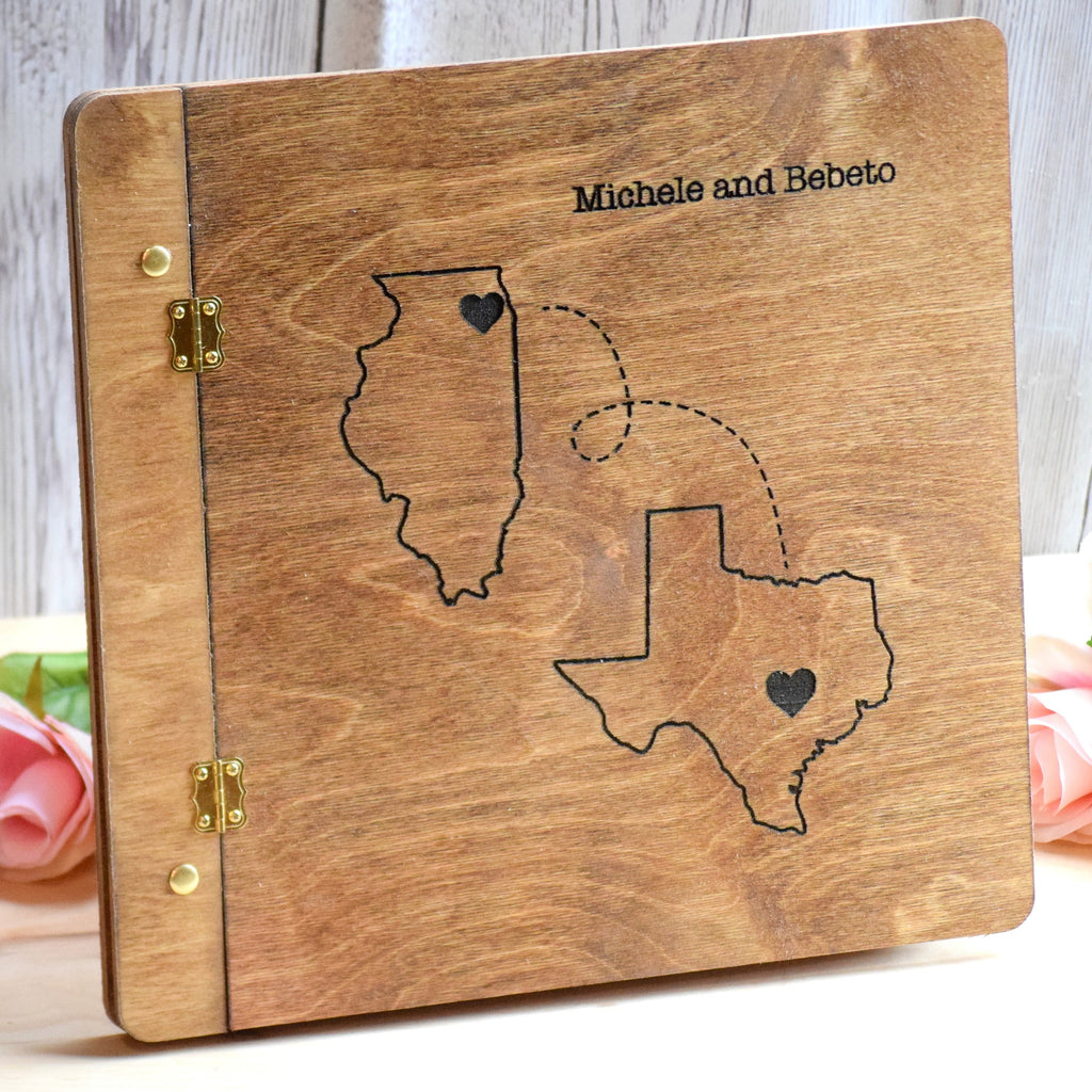 States Themed Wooden Guest Book