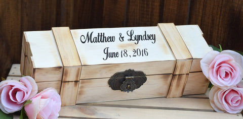 Torched Lockable Personalized Wine Box