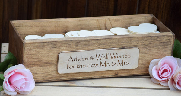 Wooden Advice box with Wooden Guest Note Hearts