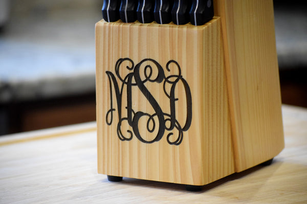 14-Piece Knife Set with Engraved Monogrammed Block