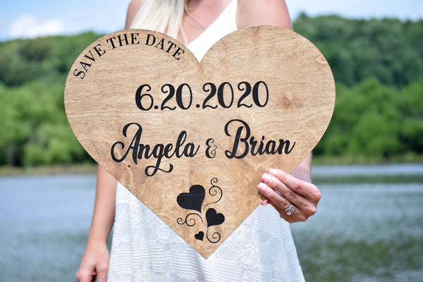 Wood Save the Date Heart Sign